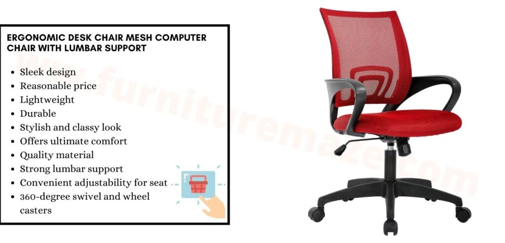 Ergonomic Desk Chair Mesh Computer Chair with Lumbar Support